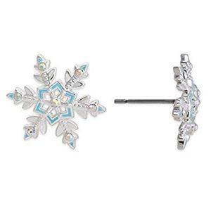 Disney Frozen crystal silver snowflake studs